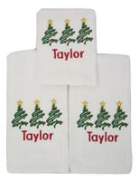 EMBROIDERED MONOGRAM TREES BURP CLOTH SET OF 3
