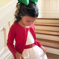 DRESSY RED RUFFLE FRONT CARDIGAN SWEATER