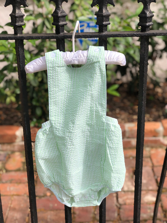 MONOGRAM SEERSUCKER LIME SUNSUIT