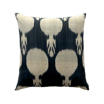 Silk Ikat Cushion - Black & Gold
