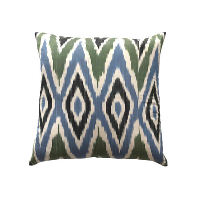 Silk Ikat Cushion - Green & Blue