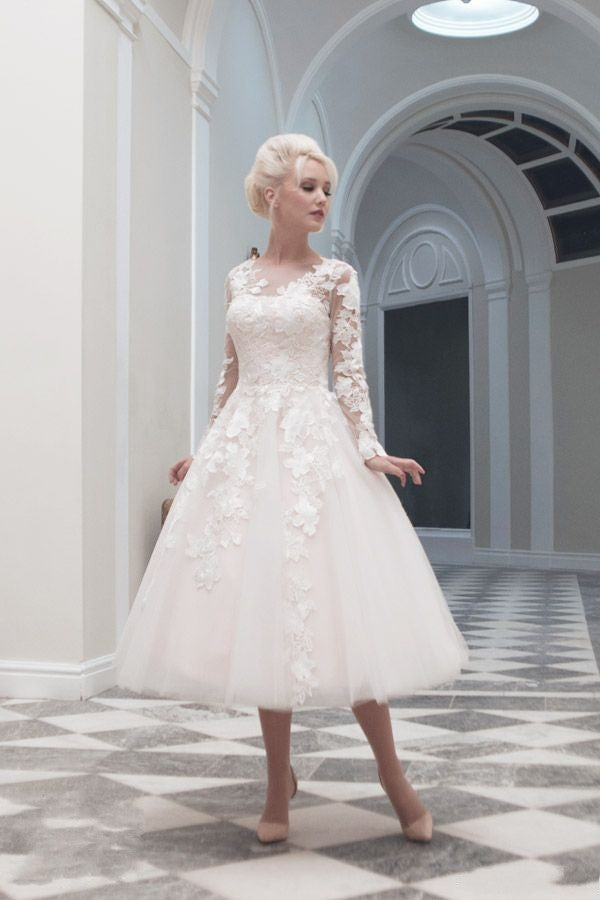 Tea Length Long Sleeve Wedding Dress