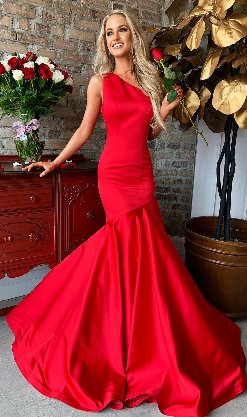 Mermaid One Shoulder Red Evening Dress - daisystyledress