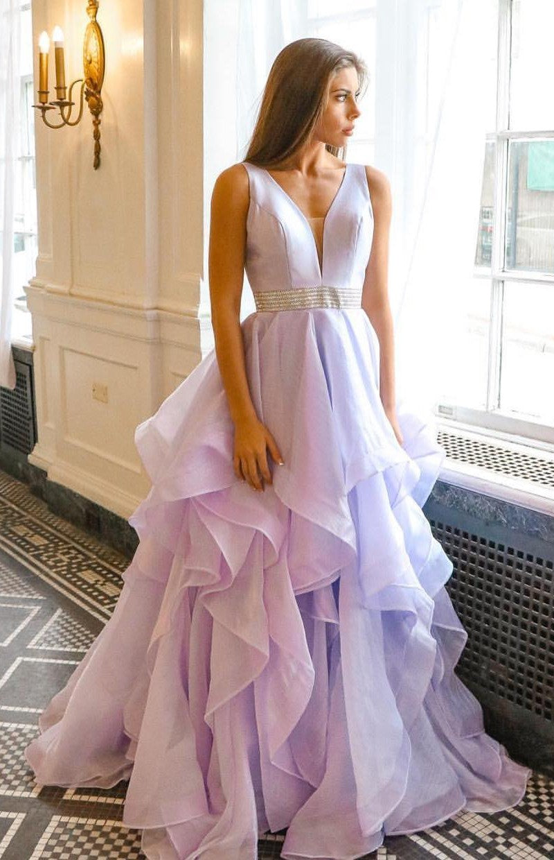 Ball Gown Lilac Tiered Skirt Prom Dress - daisystyledress