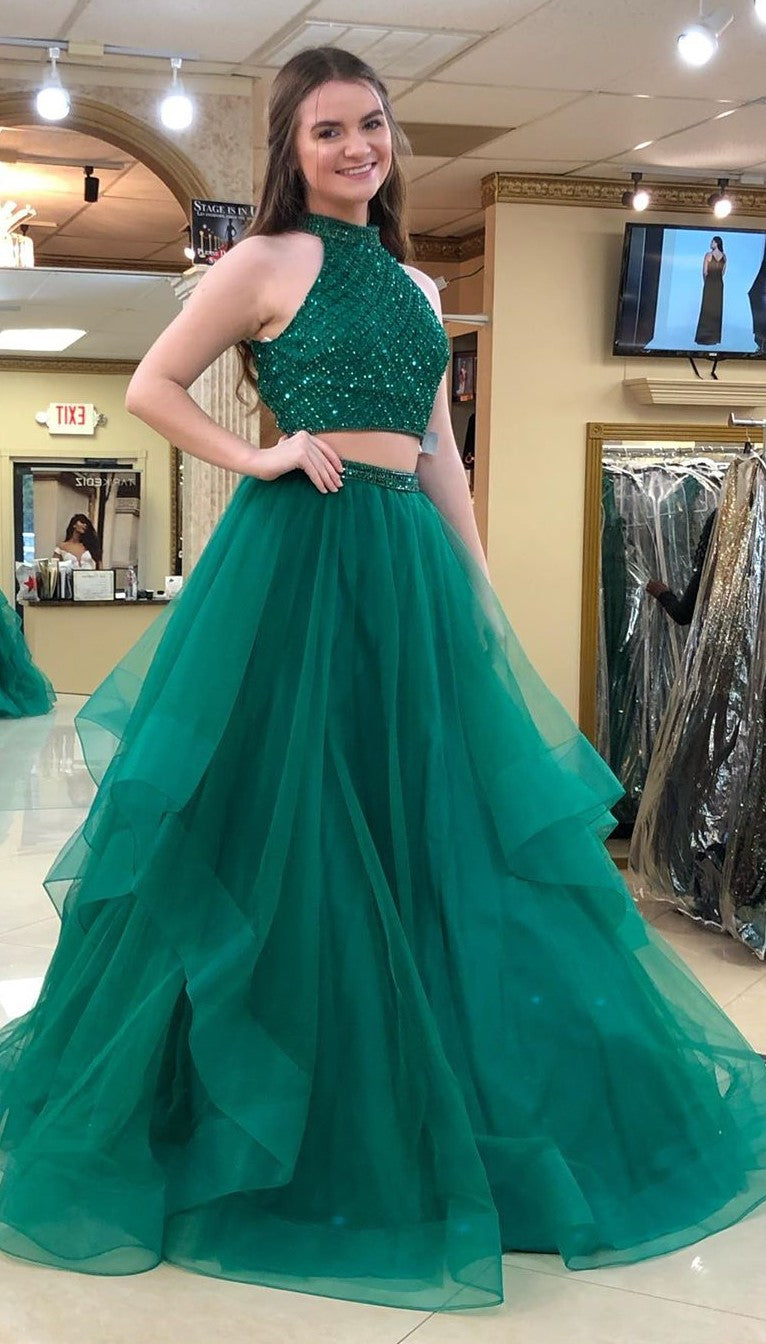 Ball Gown Two Pieces Green Prom Dress with Tiered Skirt - daisystyledress