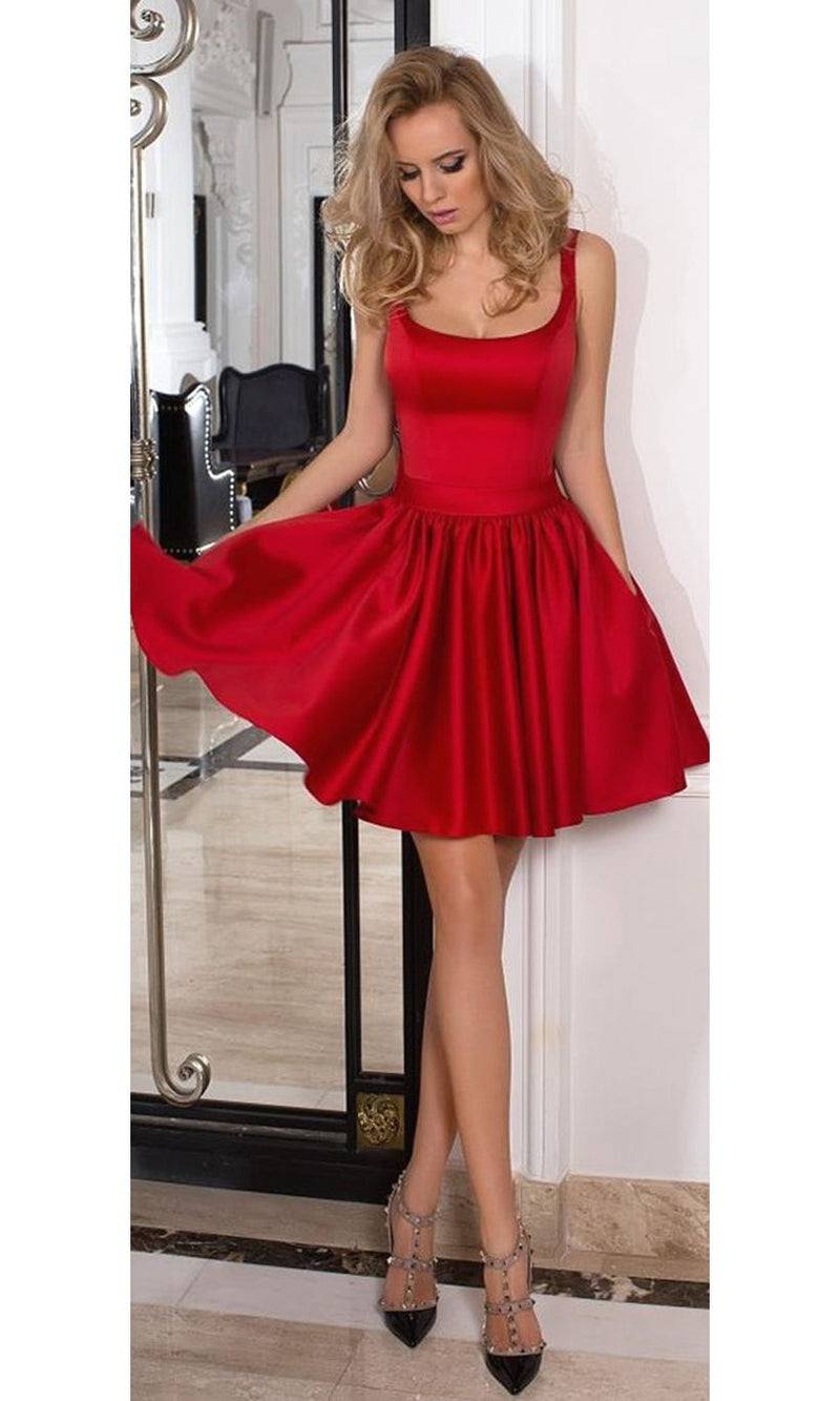 Knee Length Square Neckline Red Homecoming Dress - daisystyledress