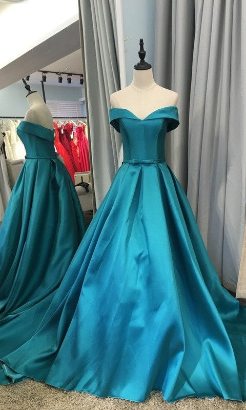 A line Off Shoulder Sleeves Hunter Prom Dress - daisystyledress