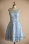 Knee Length Light Blue Vintage Lace Bridesmaid Dress - daisystyledress