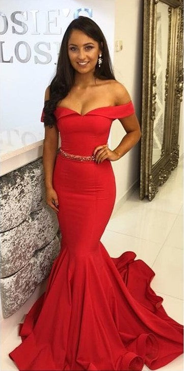 Sexy Mermaid Red Prom Dress