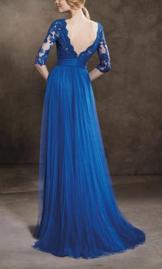 Half Sleeves Royal Blue Tulle Formal Party Dress - daisystyledress