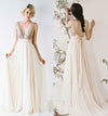 A Line V-neckline Gold Sequin Informal Wedding Dress - daisystyledress