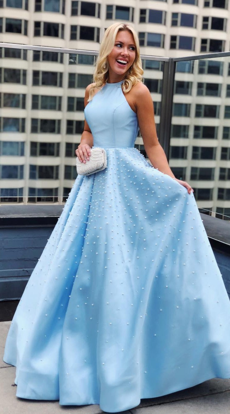 Fashion Halter Neck Light Blue Prom Dress - daisystyledress