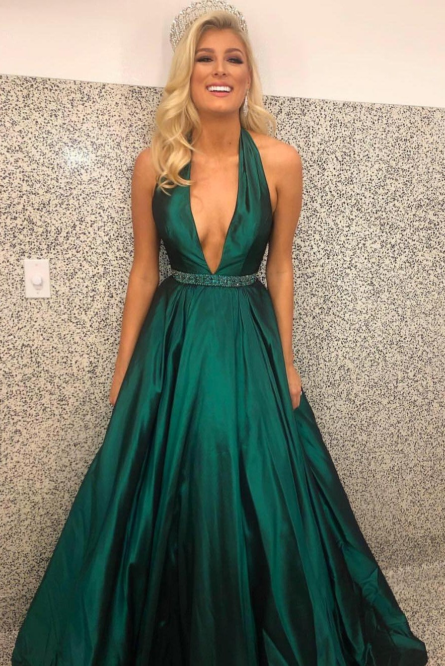 Ball Gown Halter Neck Open Back Green Pageant Dress - daisystyledress