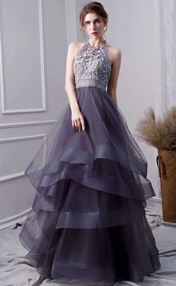 Halter Neckline Handmade Beads Prom Dress - daisystyledress
