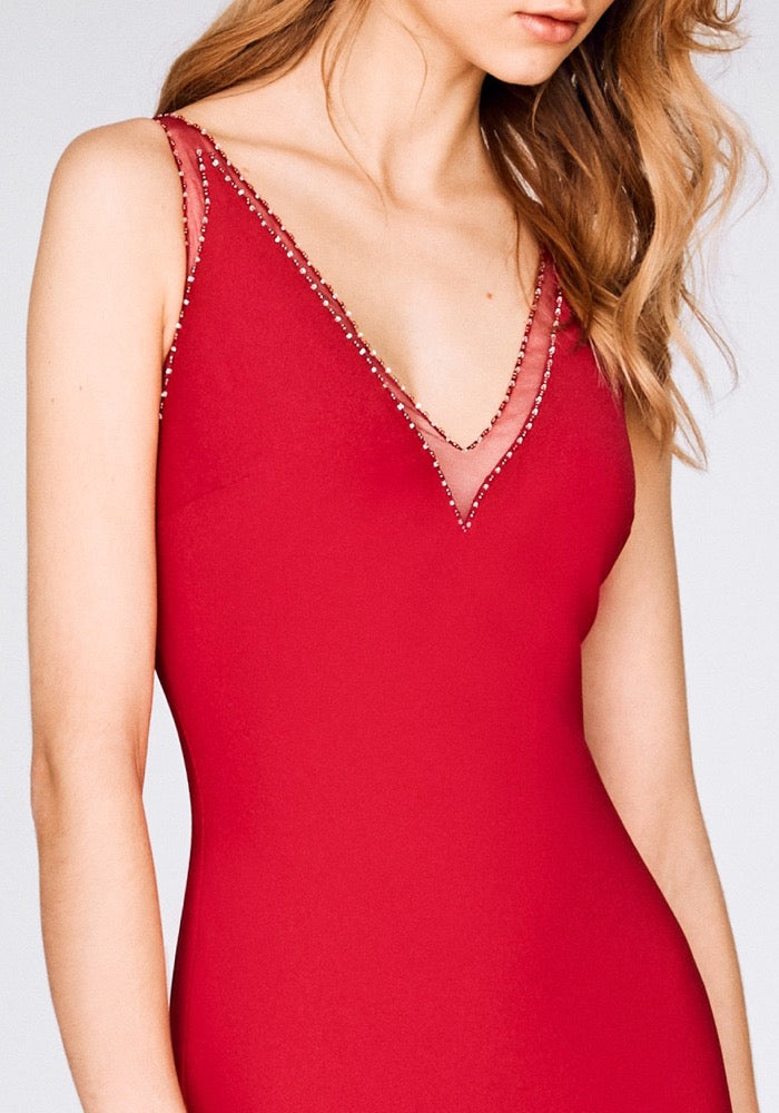 Elegant Sheath V-neck Red Evening Dress - daisystyledress