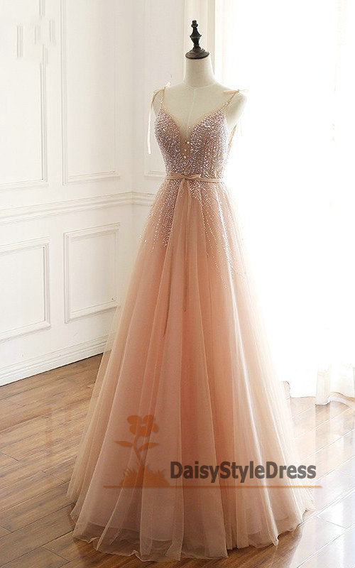 Spaghetti Straps Beaded Blush Prom Dress