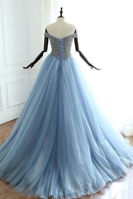 Ball Gown Off Shoulder Beaded Prom Dress - daisystyledress