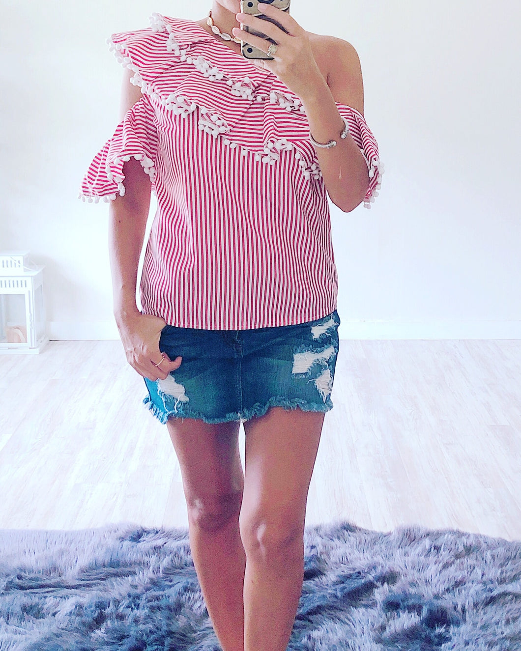 Red Stripe Pom Pom Top - Cocoa Couture Miami Boutique