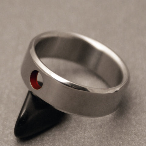 Titanium Band - Circular Red Eyelet