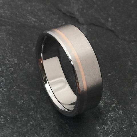 Titanium Band - Off Center 18k Solid Rose Gold Pinstripe