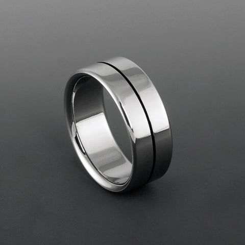 Titanium Band - Centered Black Pinstripe