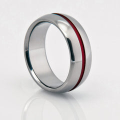 Handmade Titanium Wedding Band With Red Pinstripe