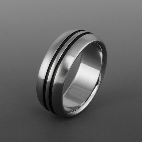 Titanium Band - Domed Profile - Two Black Centered Pinstripes