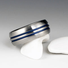 Titanium Band - Domed Profile - Two Centered Blue Pinstripes