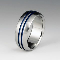 Handcrafted Titanium and Blue Wedding Ring