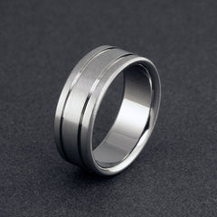 Striped Titanium Wedding Band