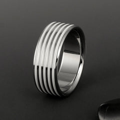 Titanium Ring with White Pinstripes