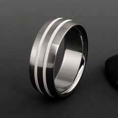 Titanium White Pinstripe Men's Wedding Band