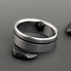 Unisex Titanium Black Engagement Ring