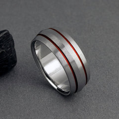 Titanium Band - Peaked Profile - Two Red Pinstripes on Either Side