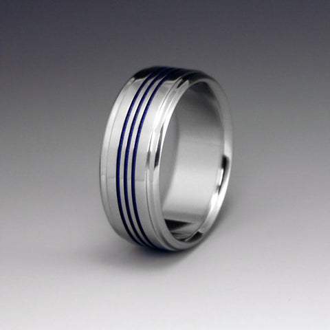 Titanium Band - Three Centered Blue Pinstripes - Stepped Down Edges