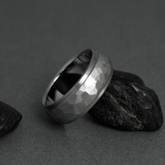 Titanium Hand Ground Ring - Domed Profile - Stepped Down Edges