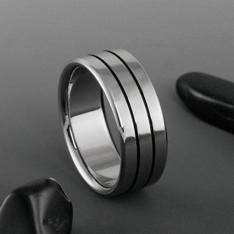 Titanium Band - Flat Profile - Two Centered Black Pinstripes