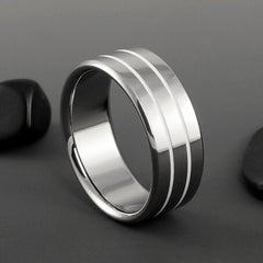 Titanium and White Wedding Band Pinstripes