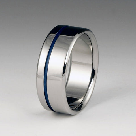 Titanium Band - Offset Blue Pinstripe