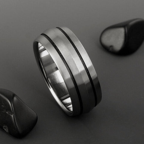 Titanium Band - Peaked Profile - Two Black Pinstripes on Either Side
