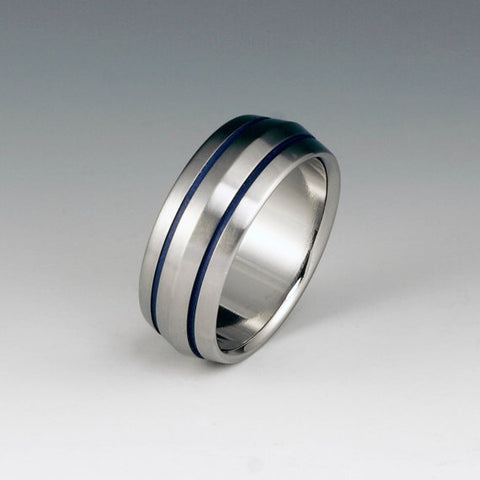 Titanium Band - Peaked Profile - Two Blue Pinstripes on Either Side