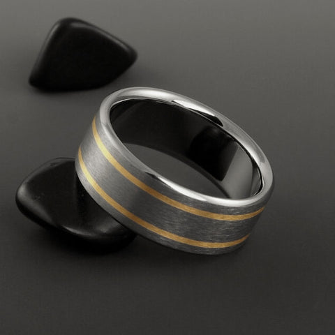 Titanium Band - Two 18k Solid Gold Pinstripes on Either Side