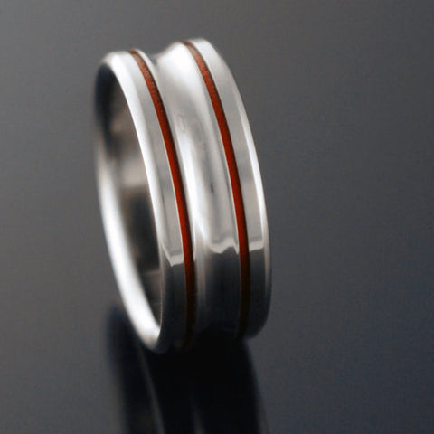 Titanium Band - Two Red Pinstripes - Concave Center