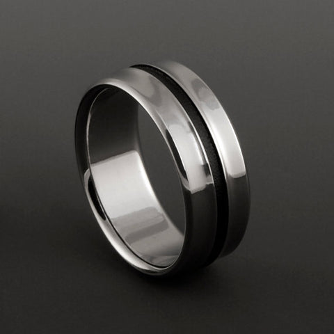 Titanium Band - Gradually Raised Center - Wide Black Pinstripe