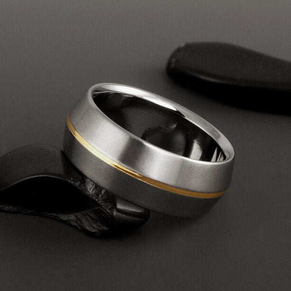 Titanium Ring - Peaked Profile - One Centered 18k Solid Gold Pinstripe