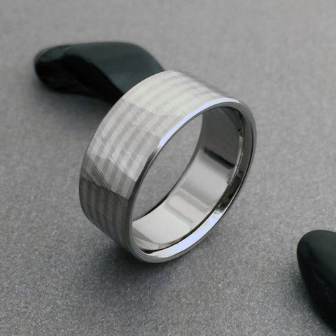 "18K Solid White Gold & Titanium Band ""Sequoia"" Finish"