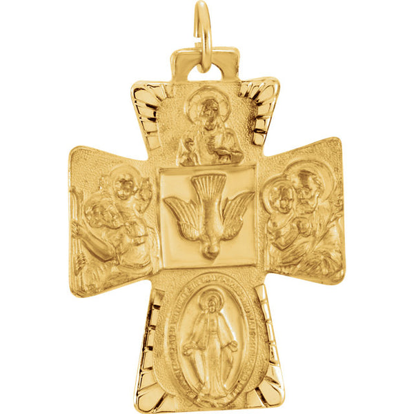 Catholic 14kt Yellow Gold Four Way Cross 28 X 23 MM