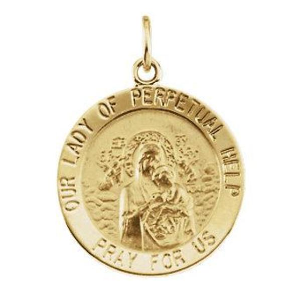 Our Lady of Perpetual Help Round Pendant in 14 Karat Yellow