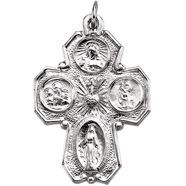 Four Way Cross With Chain Sterling Silver 28 X 21 MM