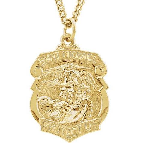 St Michael 24 Karat Yellow Gold Plated Badge Necklace With Chain 28.60 x 20.87 MM